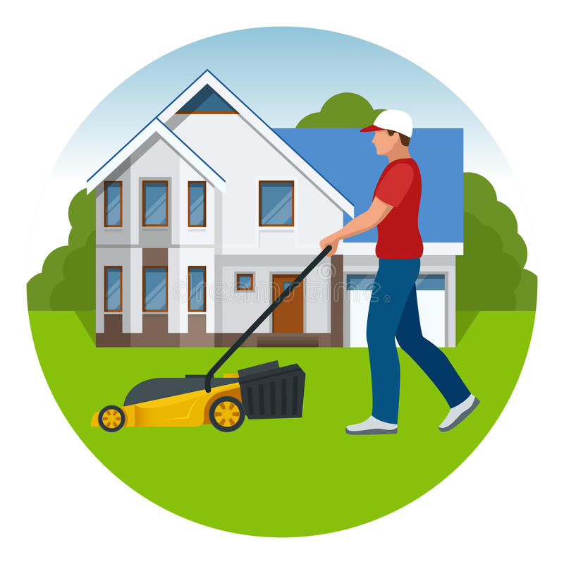 Man mowing the lawn with yellow lawn mower in summertime. Lawn grass service concept. Flat vector illustration stock illustration