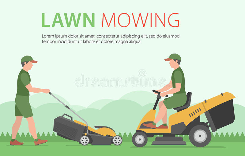 Man mowing the lawn with yellow lawn mower vector illustration