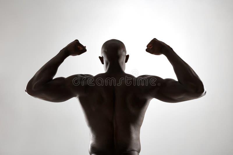 Man& musculaire x27 ; dos de s en silhouette photographie stock libre de droits