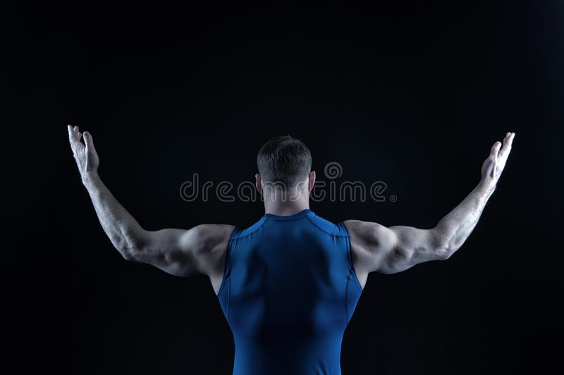 Man with muscular body and back. stock photography