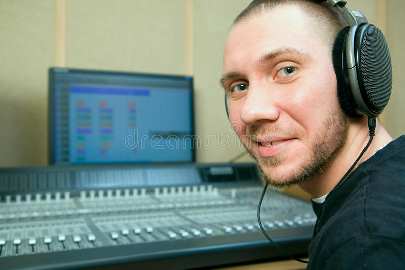 Man in the music studio royalty free stock image