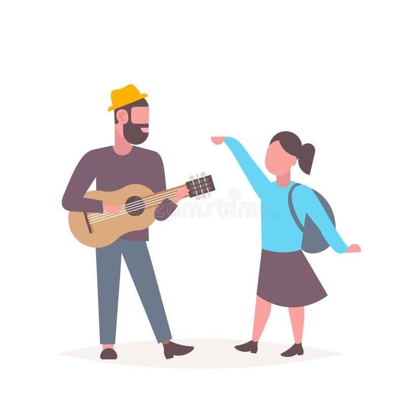 Man musicus zingen en het speel dansende paar die van de gitaarvrouw pretmusical hebben ontspannen samen concept mannelijk wijfje royalty-vrije illustratie