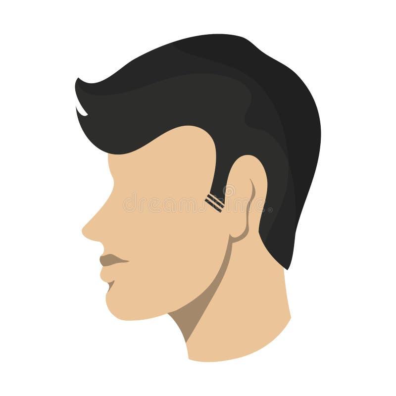 Man faceless head avatar. Man with mustache faceless head avatar isolated vector illustration graphic design royalty free illustration