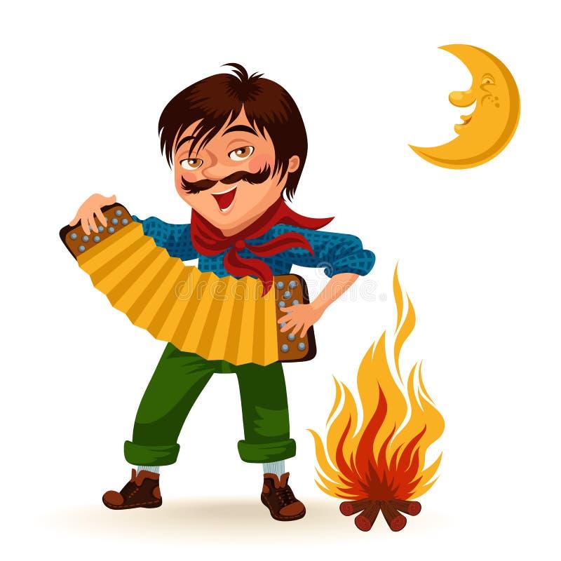 Man with mustache plays sanfona near fire under moon vector illustration, Boy holding accordion at bonfire at night.  vector illustration