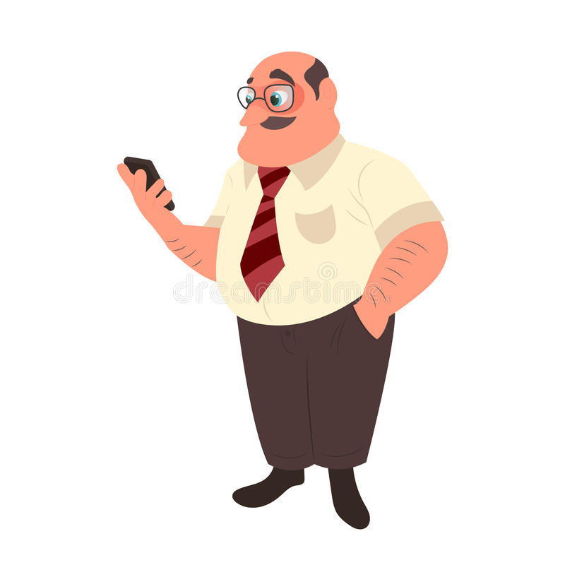 Man with a mustache using his smart phone. Office worker in glasses vector illustration stock illustration