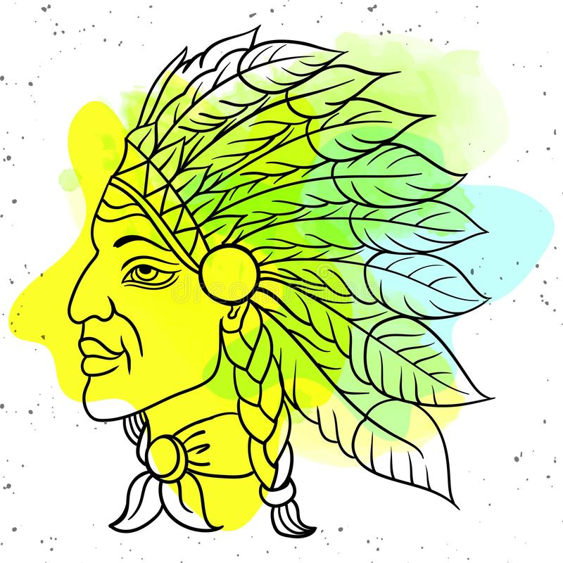 Man in the Native American Indian chief. Black roach. Indian feather headdress of eagle. Hand draw vector illustration stock illustration