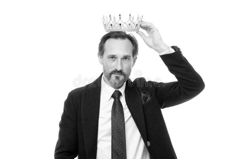 Man nature bearded guy in suit hold golden crown symbol of monarchy. Direct line to throne. Enormous privilege. Become. King ceremony. King attribute. Become stock images