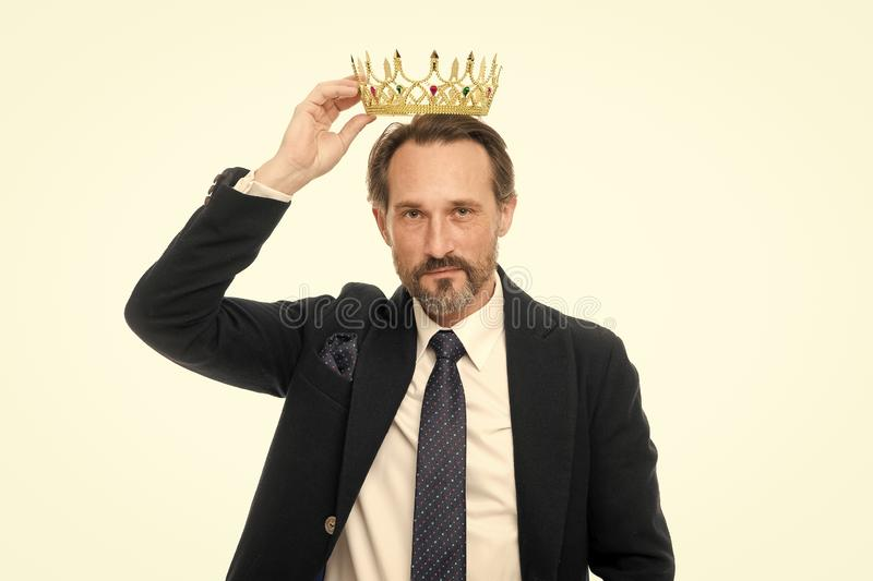 Man nature bearded guy in suit hold golden crown symbol of monarchy. Direct line to throne. Enormous privilege. Become. King ceremony. King attribute. Become stock photo