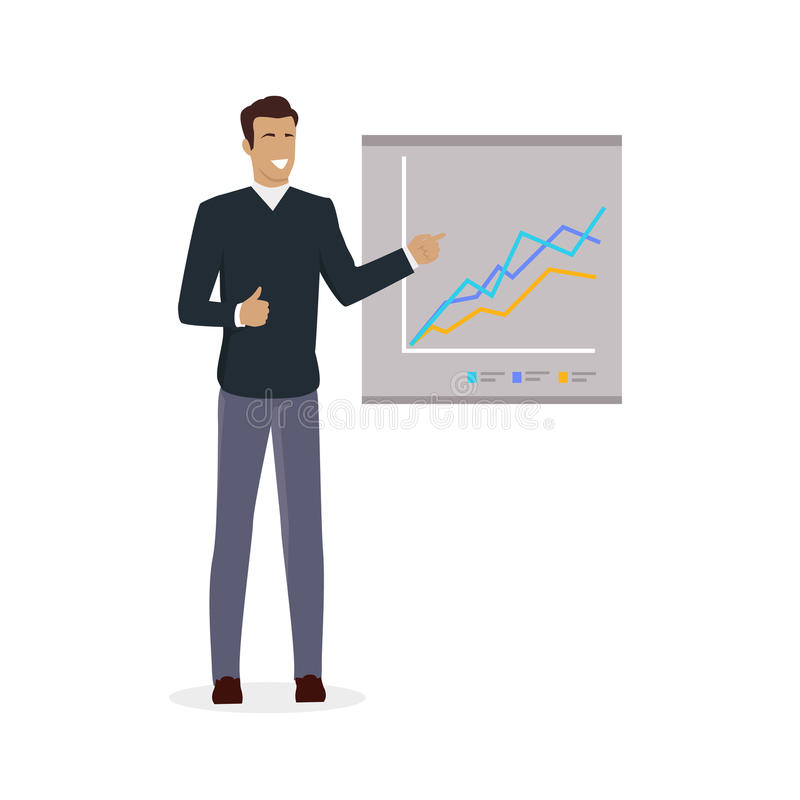 Man near Board with Carts and Graphs. Training staff briefing presentation. Staff meeting, staffing and corporate business training, employee training, mentor stock illustration