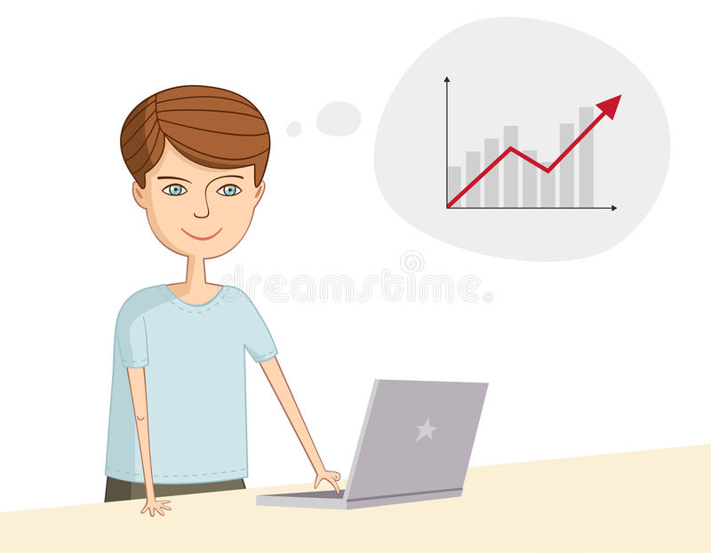 Man near the laptop thinks about profit. And business royalty free illustration
