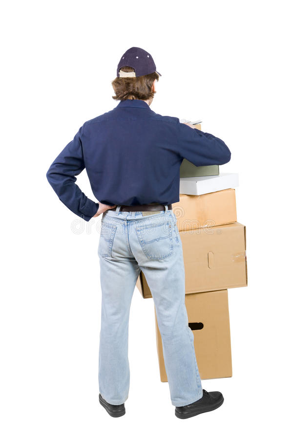 Download Man near a pile of boxes stock image. Image of check - 10809293