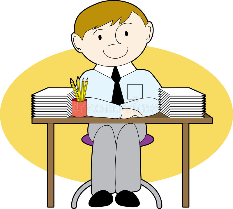 Man at a neat desk. Man sitting at a desk with neat stacks of paper royalty free illustration