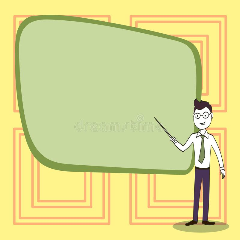 Man in Necktie, Eyeglasses and Stick Pointing to Blank Color Board. Confident Male Infront of Empty Screen Conducting stock illustration