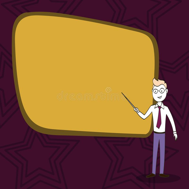 Man in Necktie, Eyeglasses and Stick Pointing to Blank Color Board. Confident Male Infront of Empty Screen Conducting vector illustration