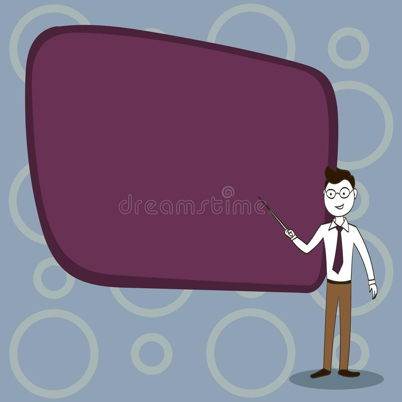 Man in Necktie, Eyeglasses and Stick Pointing to Blank Color Board. Confident Male Infront of Empty Screen Conducting royalty free illustration