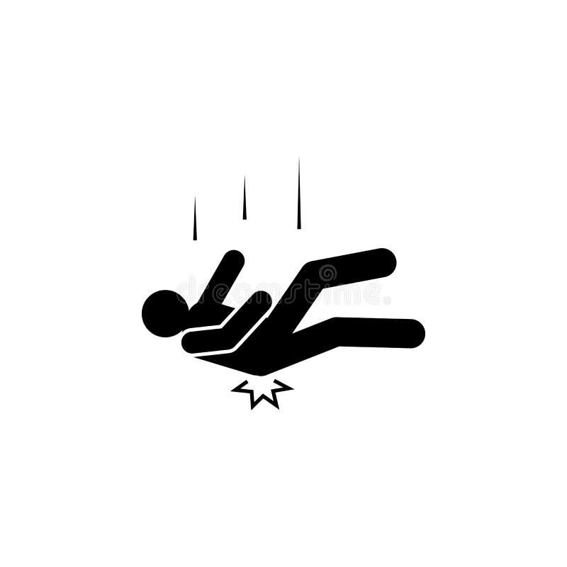 Man nedgång, ände, skada, höftsymbol Beståndsdelen av mannen faller ner Högvärdig kvalitets- symbol för grafisk design tecken och royaltyfri illustrationer