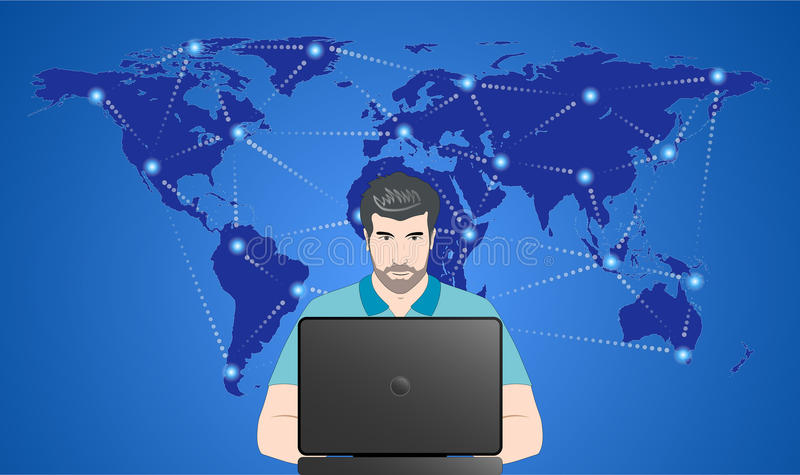 Man in the network. Man sitting by the laptop against the world map with network connections royalty free illustration