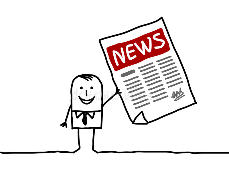 Man & news. Vector hand drawn characters line