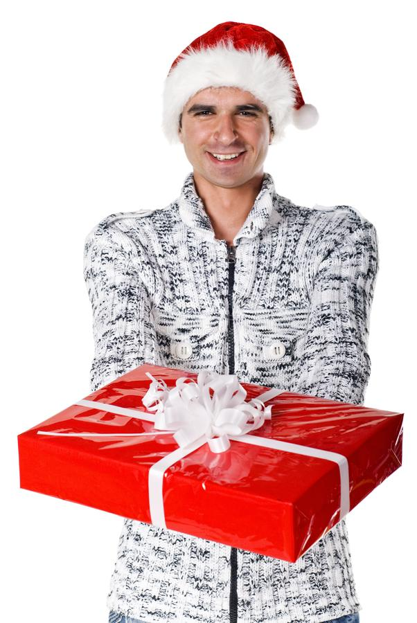 Man with nice gift royalty free stock photo