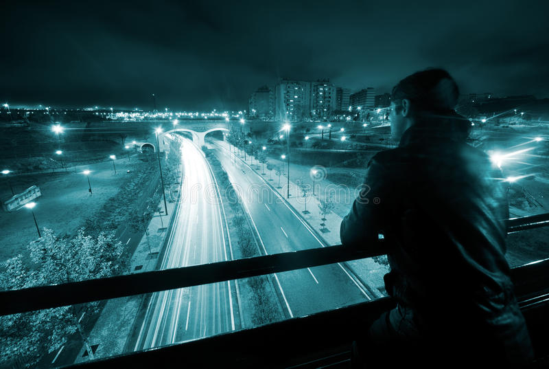 Download Man in night urban scene stock image. Image of district - 17007499