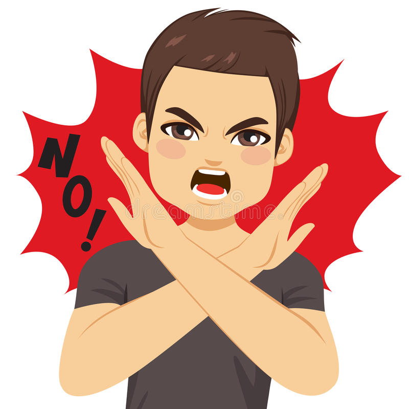 Man No Arms. Young angry man crossing arms says no royalty free illustration