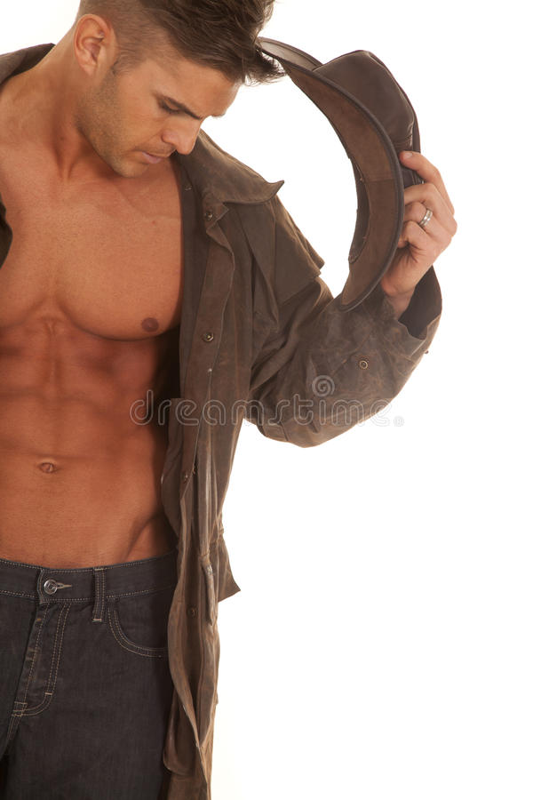 Free Man No Shirt Coat Hat In Hand Close Stock Photo - 37253570