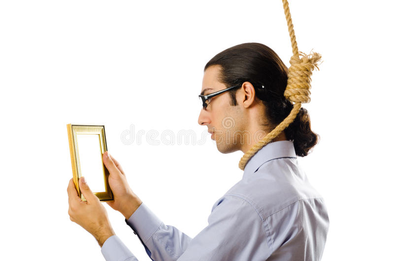 Man With Noose Around  Neck Stock Images