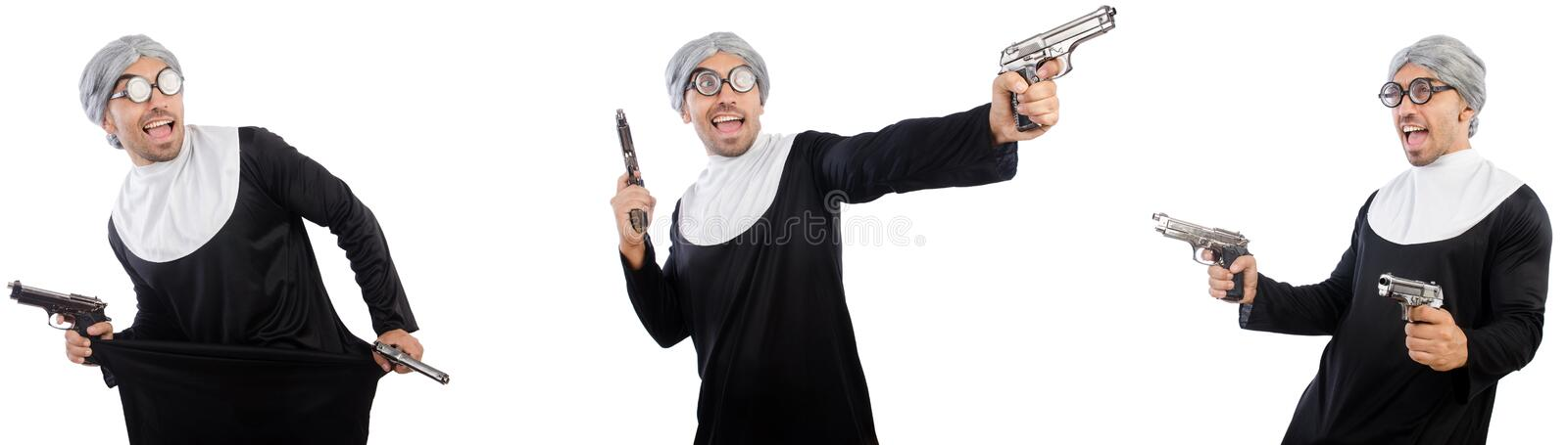 The man in nun dress with handgun. Man in nun dress with handgun royalty free stock images