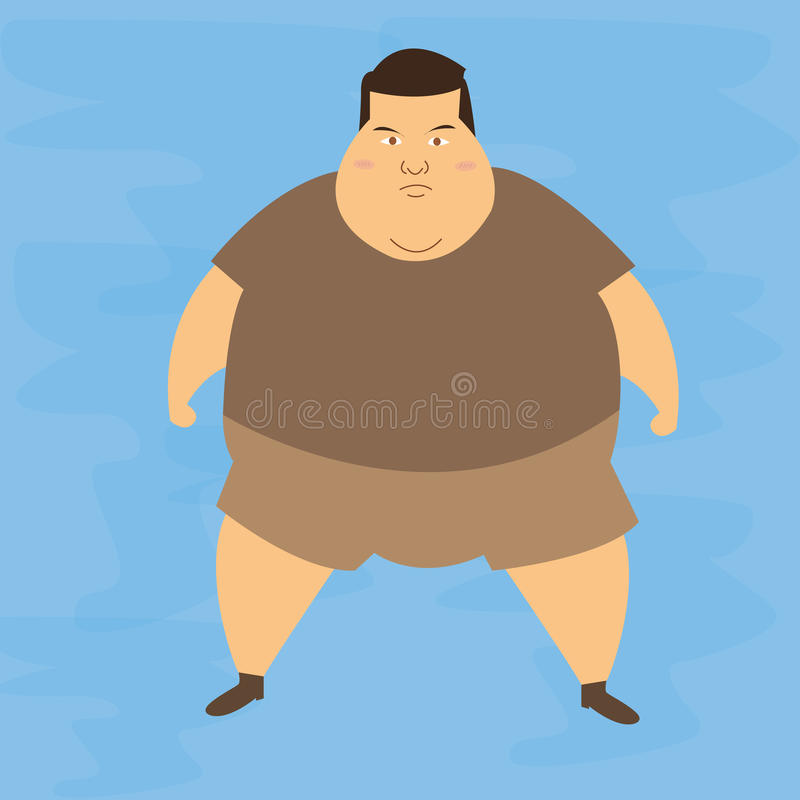Man obese obesity fat belly not healthy overweight character illustration royalty free illustration
