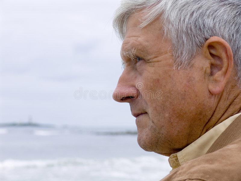 Download Man & Ocean stock image. Image of wise, wrinkles, melancholy - 469267