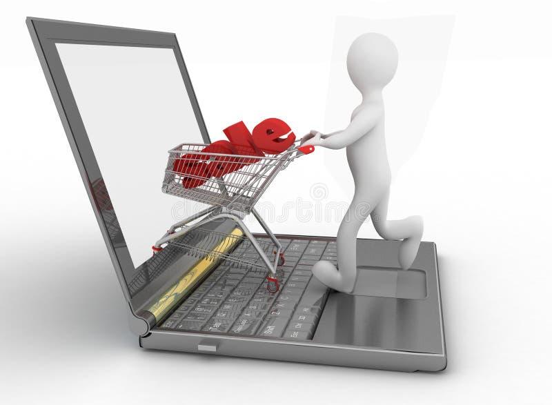 Man- och bärbar datoronline-shopping royaltyfri illustrationer