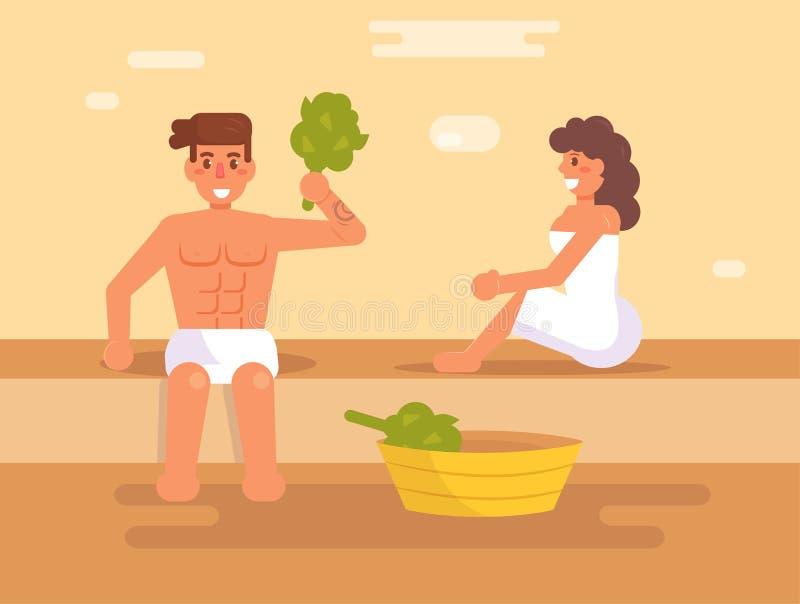 Man och en kvinna i bastun royaltyfri illustrationer