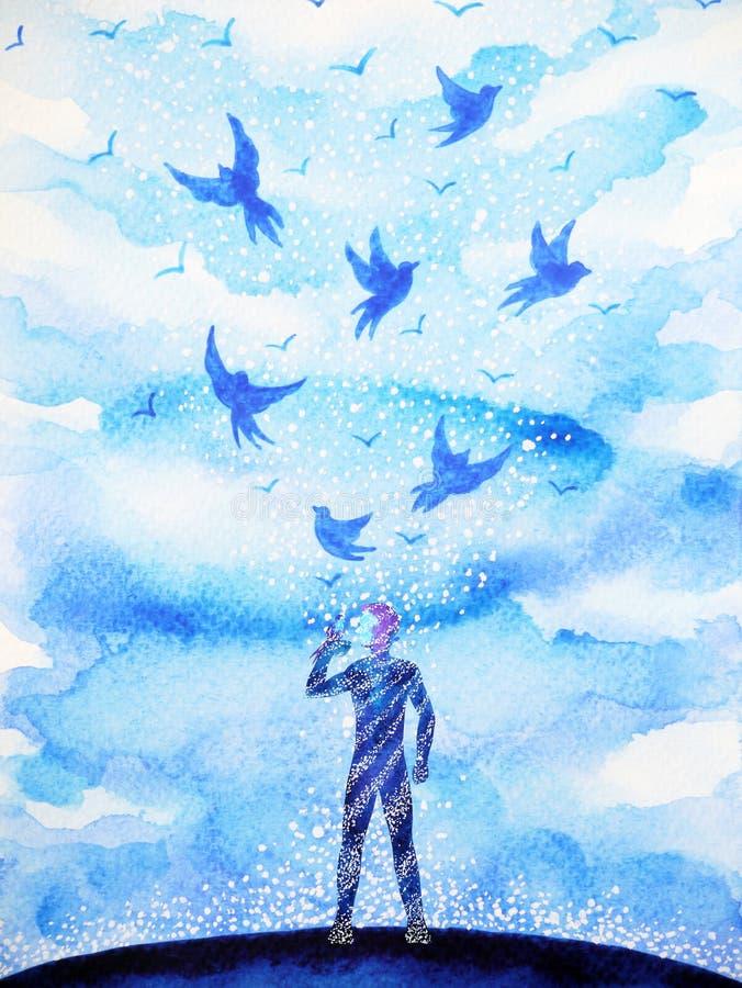 Man- och flygfåglar frigör, kopplar av mening med öppen himmel, abstrakt begrepp stock illustrationer