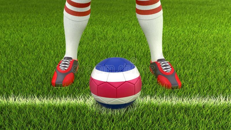 Man och fotbollboll med den Costa Rica flaggan royaltyfri illustrationer