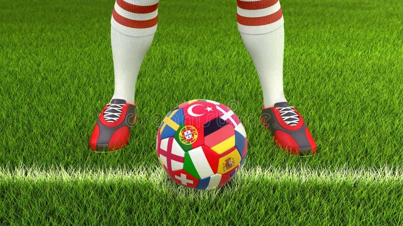 Man och fotbollboll med flaggor royaltyfri illustrationer