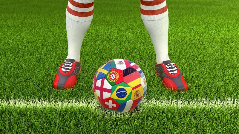 Man och fotbollboll med flaggor vektor illustrationer
