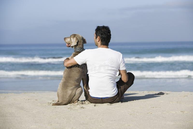 Man- och hundsammanträde på stranden royaltyfri fotografi