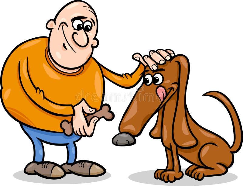 Man- och hundtecknad filmillustration vektor illustrationer