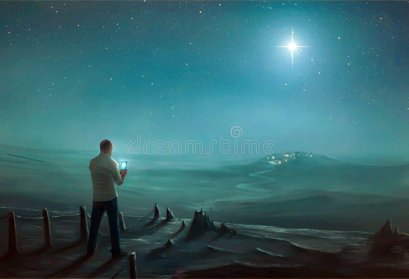 Man och julstjärnan royaltyfria bilder