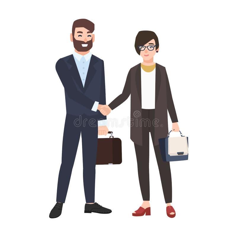 Man och kvinna eller kontorsarbetare som skakar händer som isoleras på vit bakgrund Para av affärspartners eller kollegor vektor illustrationer