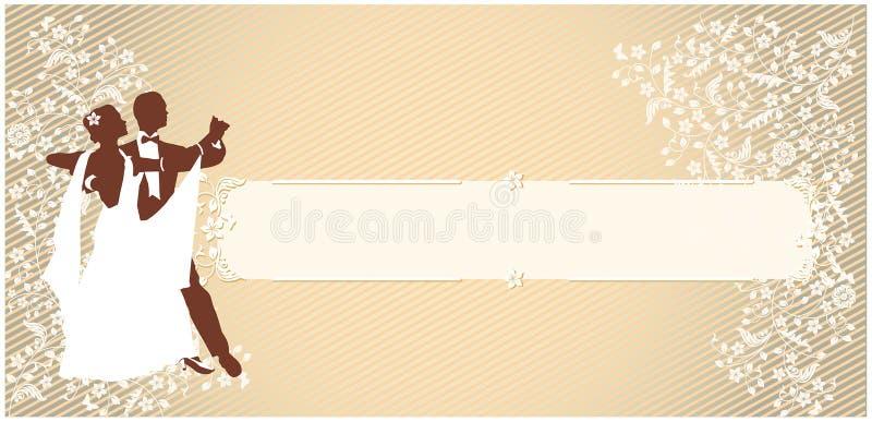 Man och kvinna Ett danspar Tappninghorisontalbakgrund royaltyfri illustrationer