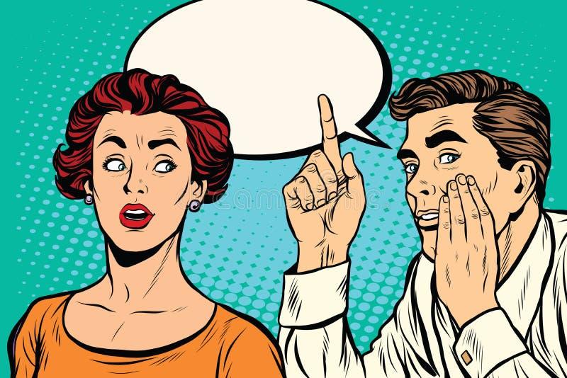 Man och kvinna ett hemligt utfrågningskvaller stock illustrationer