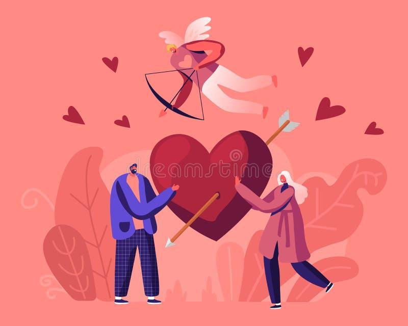Man och kvinna faller i kärlekskoncept Unga manliga och kvinnliga karaktärer delar ett enormt rött hjärta med pilspetsar royaltyfri illustrationer