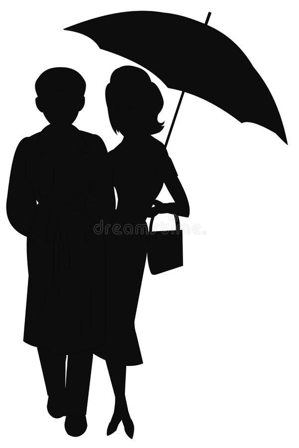 Man och kvinna i kontur i regn vektor illustrationer