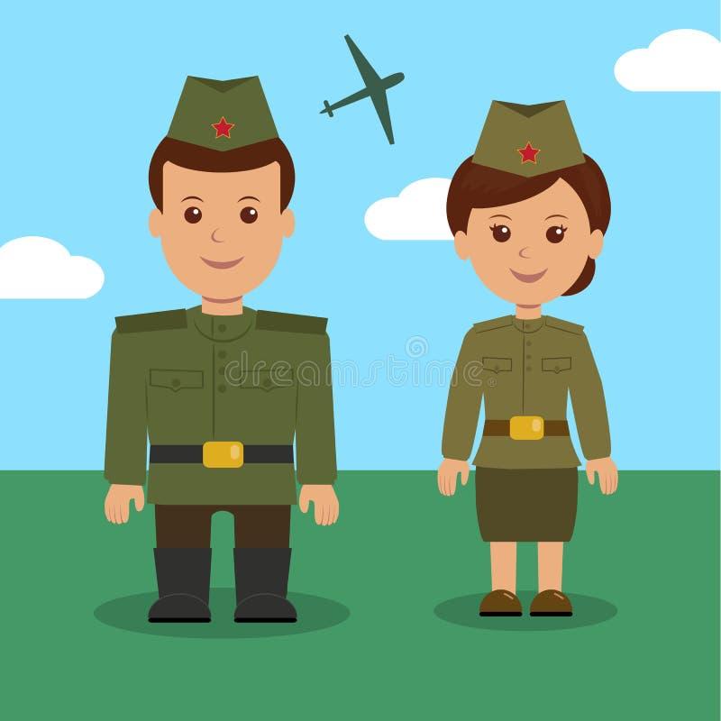 Man och kvinna i likformigt av den ryska militären Tecken som är militära för bakgrund på 23 Februari vektor illustrationer
