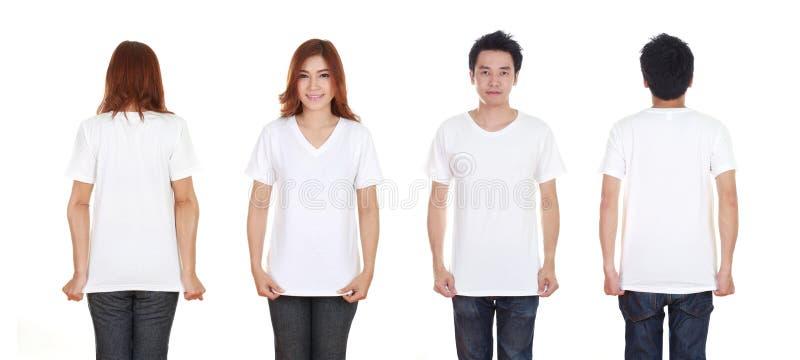 Man och kvinna med mellanrumssvartt-skjortan royaltyfria bilder