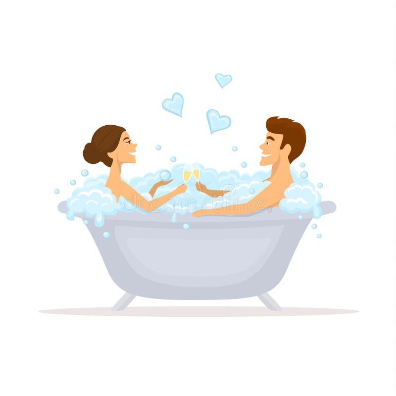 Man och kvinna, romantiskt par som är förälskat i ett badkar royaltyfri illustrationer