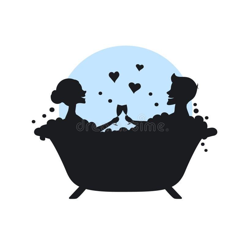 Man och kvinna, romantiskt par som är förälskat i ett badkar vektor illustrationer