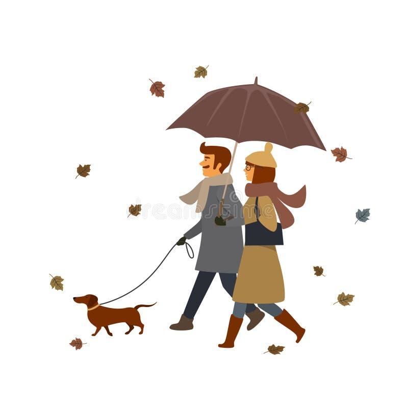 Man och kvinna som går med hunden, plats för illustration för nedgånghöstvektor vektor illustrationer