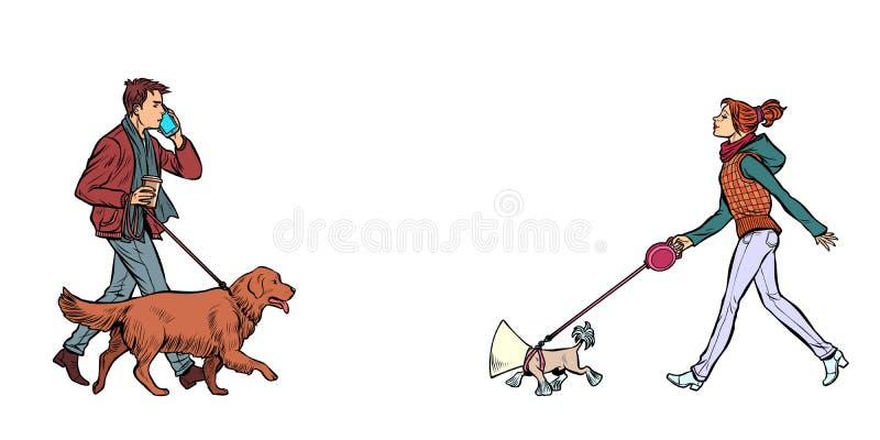 Man och kvinna som går med hundkapplöpning stock illustrationer